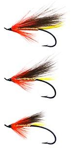 3,4 or 6 Salmon Fishing flies ALLY/'S ORANGE Choose single double or treble hook